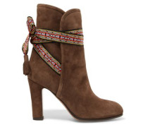 Bow-detailed Suede Ankle Boots Brown