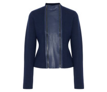 Leather-trimmed Merino Wool Jacket Navy