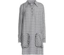 Ruffle-trimmed checked twill mini shirt dress
