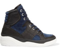 Chrystie suede and leather high-top wedge sneakers