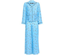 Printed Silk Crepe De Chine Pajama Set Light Blue