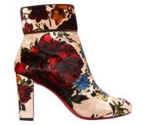 Moulamax 85 Floral-print Velvet Ankle Boots Beige