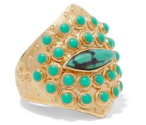 Navajo 14-karat gold-plated stone ring
