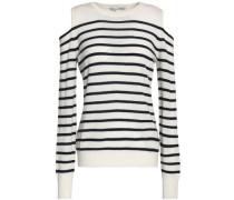 Cold-shoulder striped cashmere sweater