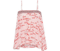 Connect The Dots crystal-embellished printed silk crepe de chine camisole
