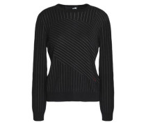Pinstriped stretch-knit sweater