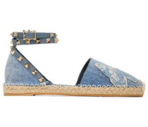 Embellished Denim Espadrilles Light Blue