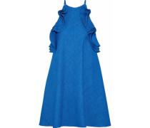 Ruffle-trimmed woven mini dress