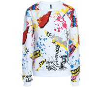 Flocked printed French cotton-terry sweatshirt