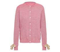 Bow-detailed Metallic Wool-blend Cardigan Pink