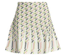 Pleated jacquard mini skirt