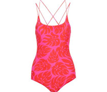 Kilauea Cutout Printed Swimsuit Red