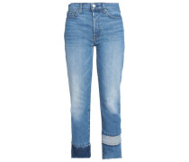 Vintage Blue Dunes paneled high-rise straight-leg jeans