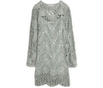 Cotton And Silk-blend Crocheted Mini Dress Grey Green