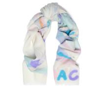 Flocked printed wool scarf