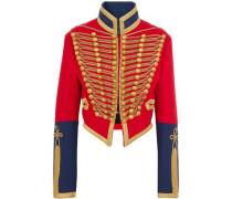 Embellished Wool-felt Jacket Red