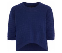 Cropped waffle-knit cotton sweater