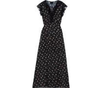 Lace-trimmed Floral-print Fil Coupé Maxi Dress Black