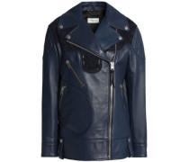 Suede-trimmed leather biker jacket