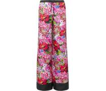 Macaw Floral-print Silk-satin Twill Wide-leg Pants Pink