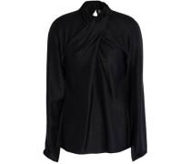 Wrap-effect silk-twill blouse