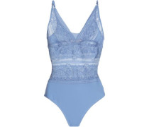 Ophelia Whispering Lace And Stretch-jersey Bodysuit Light Blue