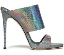 Iridescent snake-effect leather mules