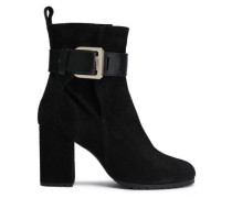 Woman Leather-trimmed Buckle-detailed Suede Ankle Boots Black