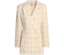 Double-breasted frayed checked linen-twill blazer
