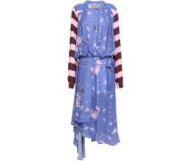 Draped Printed Crepe Midi Dress Lavender