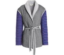Herringbone-paneled printed quilted cotton-blend jacket