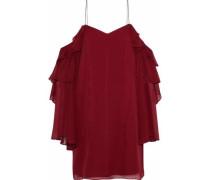 Finale cold-shoulder ruffled silk-chiffon mini dress