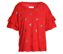 Ruffled Metallic Printed Cotton-jersey T-shirt Red Size 1