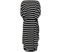 Woman Belted Striped Knitted Dress Black