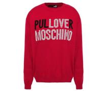 Appliquéd Intarsia Cotton Sweater Crimson