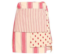 Patchwork-effect Printed Cotton-gauze Mini Wrap Skirt Red