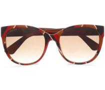 D-frame Striped Acetate Sunglasses Brick Size --