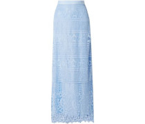 Asher Guipure Lace Maxi Skirt Light Blue