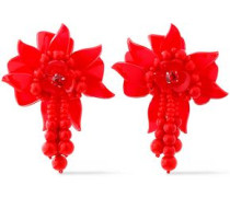 Bead And Acetate Clip Earrings Red Size --
