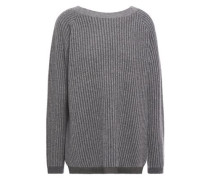 Woman Ribbed Mélange Cashmere Sweater Charcoal