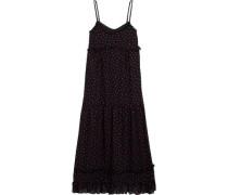 Ruffled polka-dot georgette midi dress