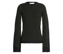 Ribbed merino wool and silk-blend sweater