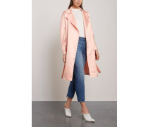 Belted Satin Trench Coat Peach