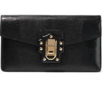 Lizard-effect Leather Clutch Black Size --