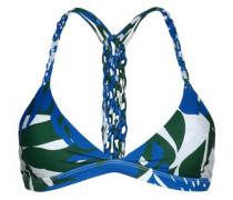 Knotted printed stretch-knit bikini top
