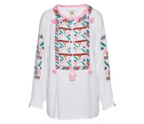 Lou Lou Tasseled Embroidered Cotton-gauze Tunic White