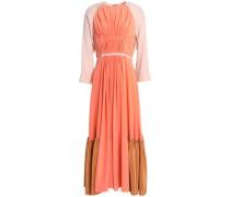 Pleated color-block silk crepe de chine midi dress