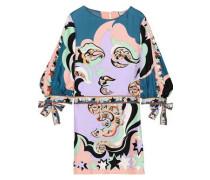 Woman Tie-detailed Printed Silk-twill Mini Dress Lavender