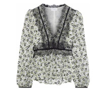 Embroidered Cotton-blend Lace Blouse Ivory