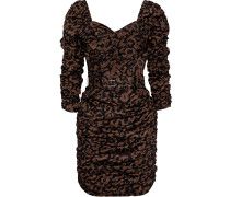 Belted Ruched Printed Crepe De Chine Mini Dress